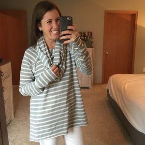 Gray & Cream Stripe Cowl Neck Tunic